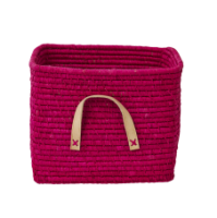 Fuchsia raffia storage basket leather handles Rice DK